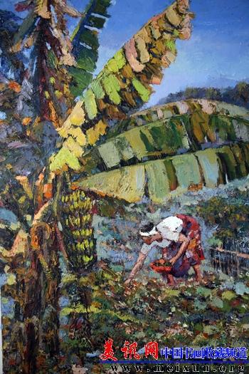 油画《芭蕉树下》.作者:李春华.尺寸:60x80cm.jpg